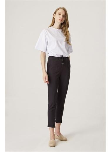 Z Giyim Kadın  Bej  Beli Lastikli Duble Paça Kumaş Pantolon Siyah